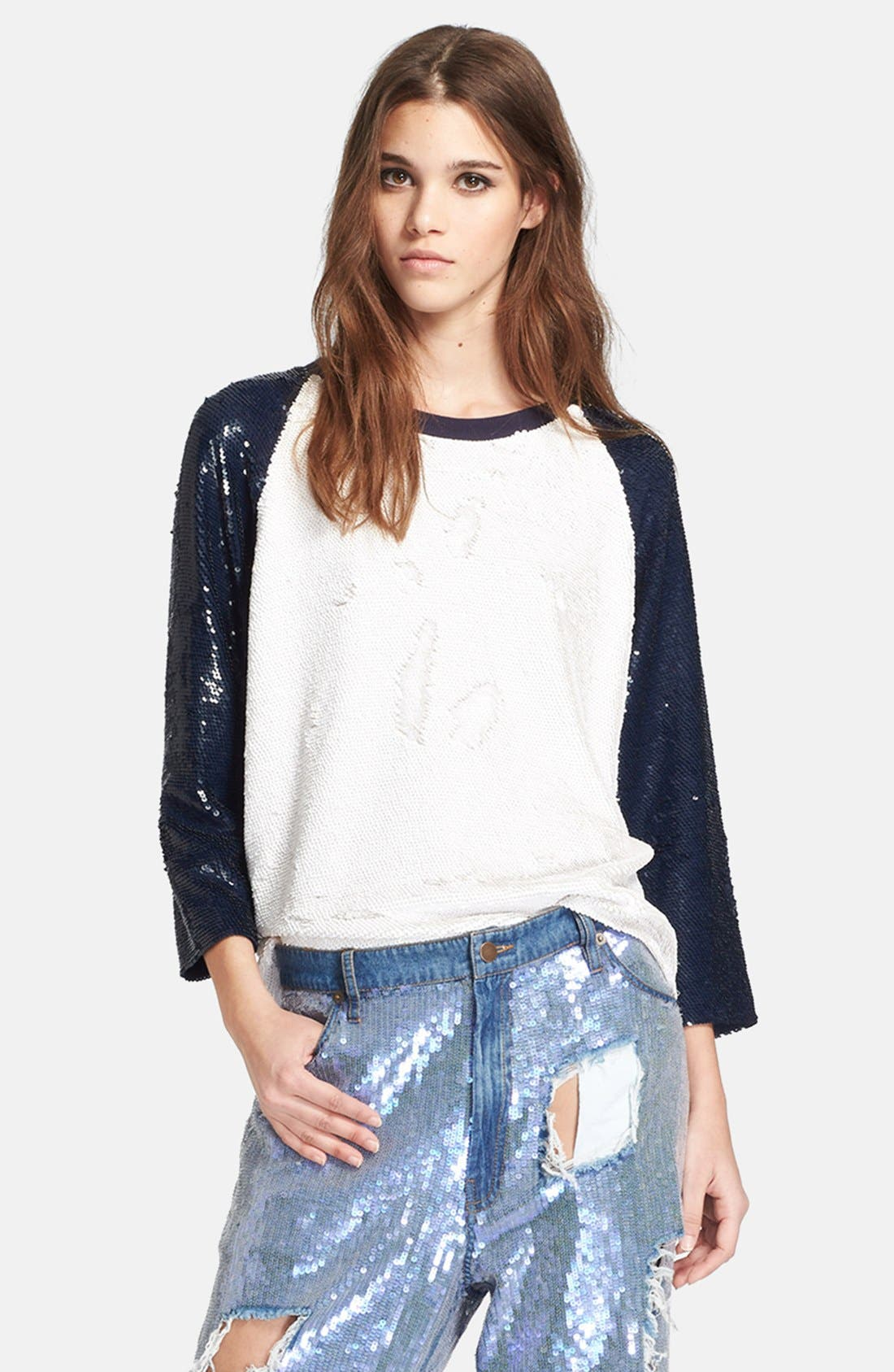 Alternate Image 1 Selected - Ashish Sequin Silk Georgette Baseball Tee