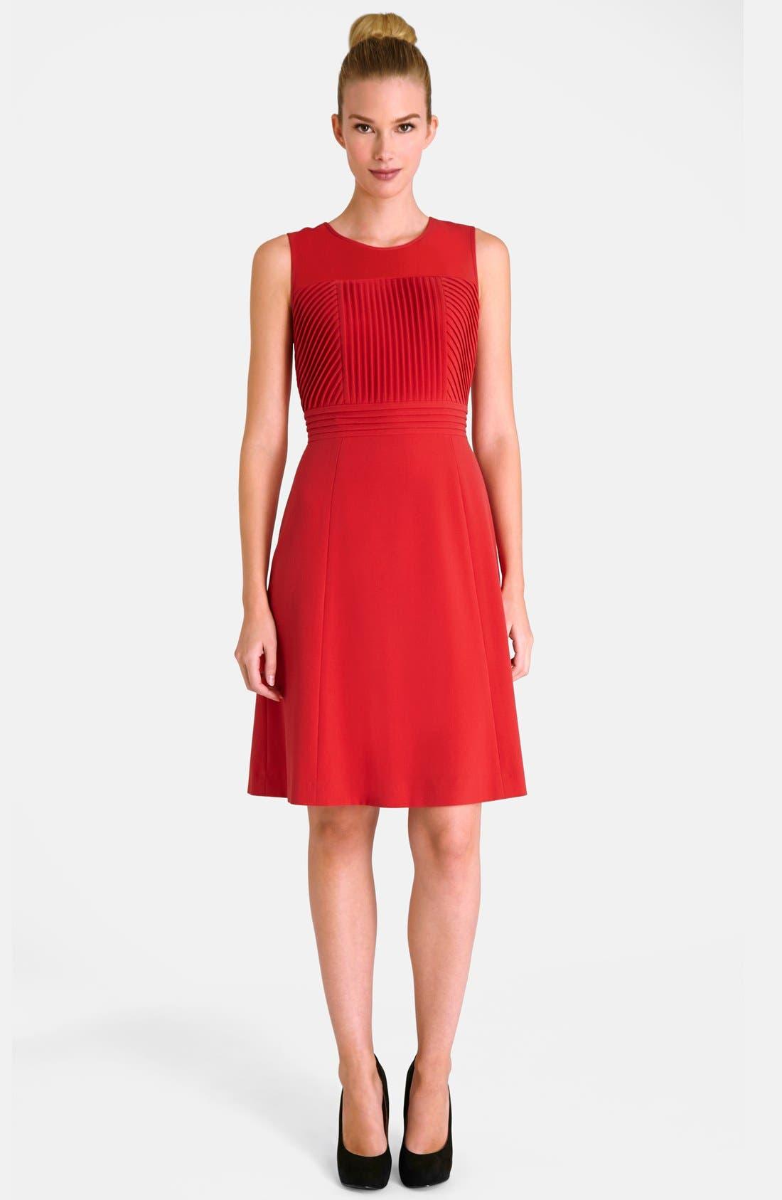 Main Image - Tahari Stretch Knit Fit & Flare Dress (Petite)