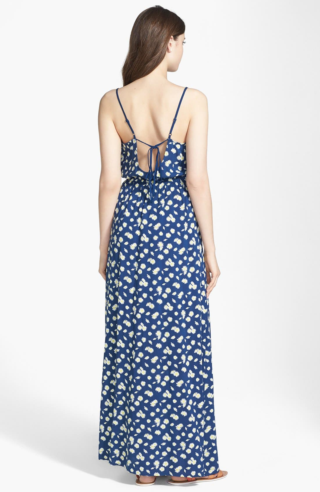 Alternate Image 2  - Mimi Chica Open Back Daisy Print Maxi Dress (Juniors)