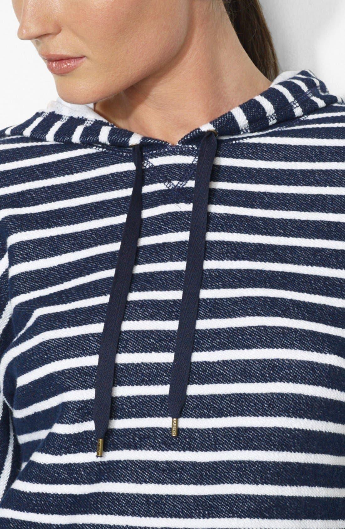 Alternate Image 3  - Lauren Ralph Lauren Stripe Dolman Sleeve Cotton Hoodie