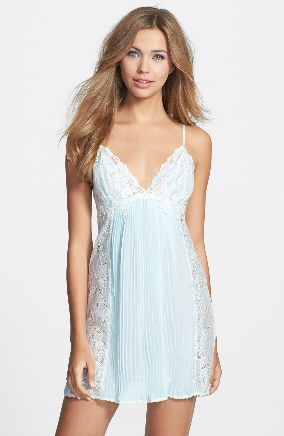 Alternate Image 1 Selected - Jonquil 'Jessica' Pleated Chiffon & Lace Chemise