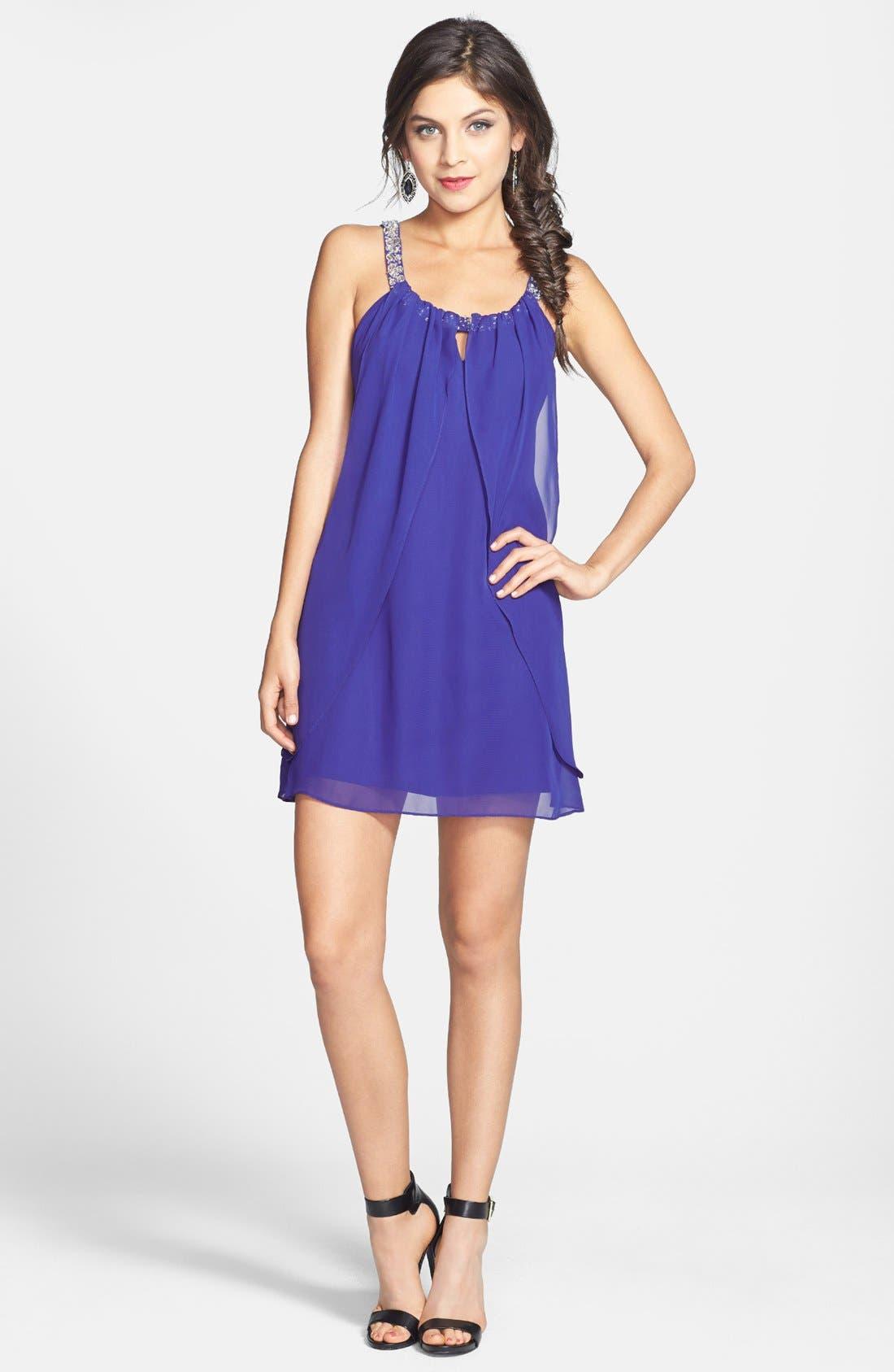 Main Image - Hailey Logan Embellished Strap Flutter Dress (Juniors) (Online Only)
