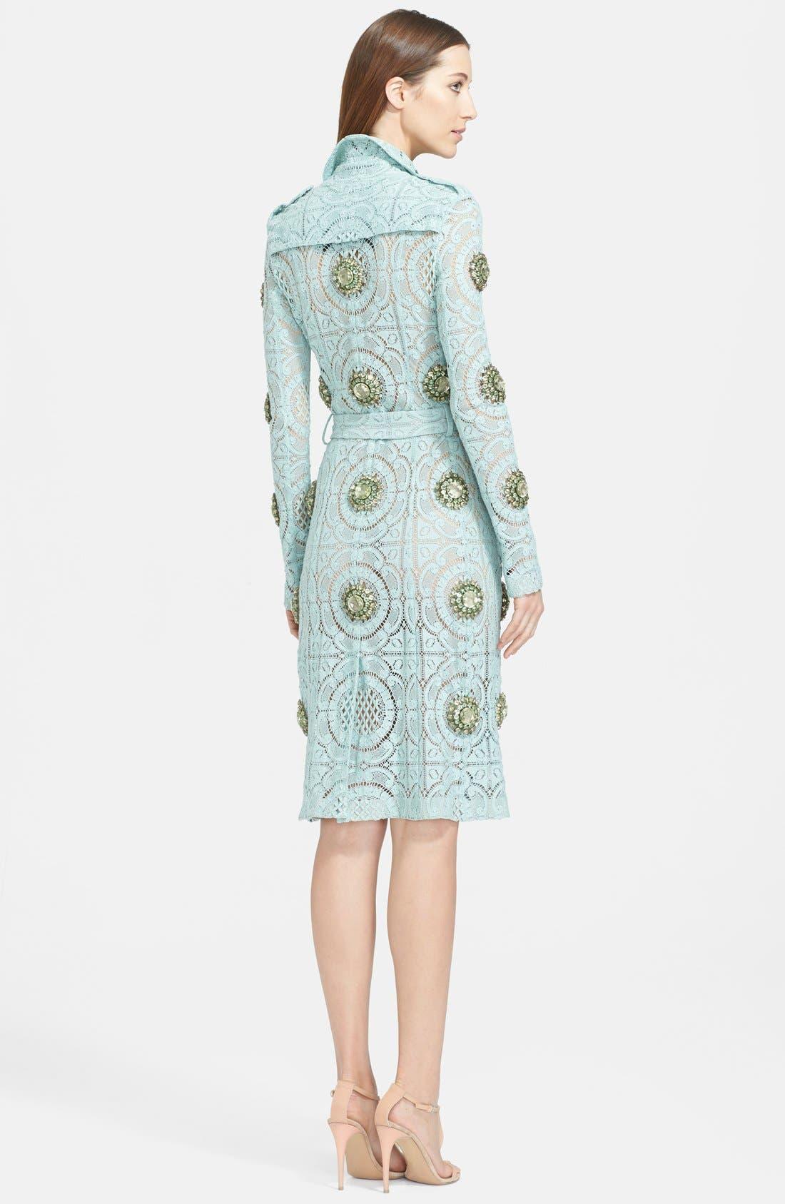 Alternate Image 2  - Burberry Prorsum Embellished English Lace Trench Coat