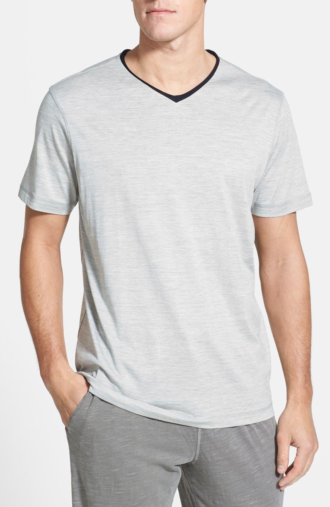 Alternate Image 1 Selected - Daniel Buchler Silk & Cotton V-Neck T-Shirt