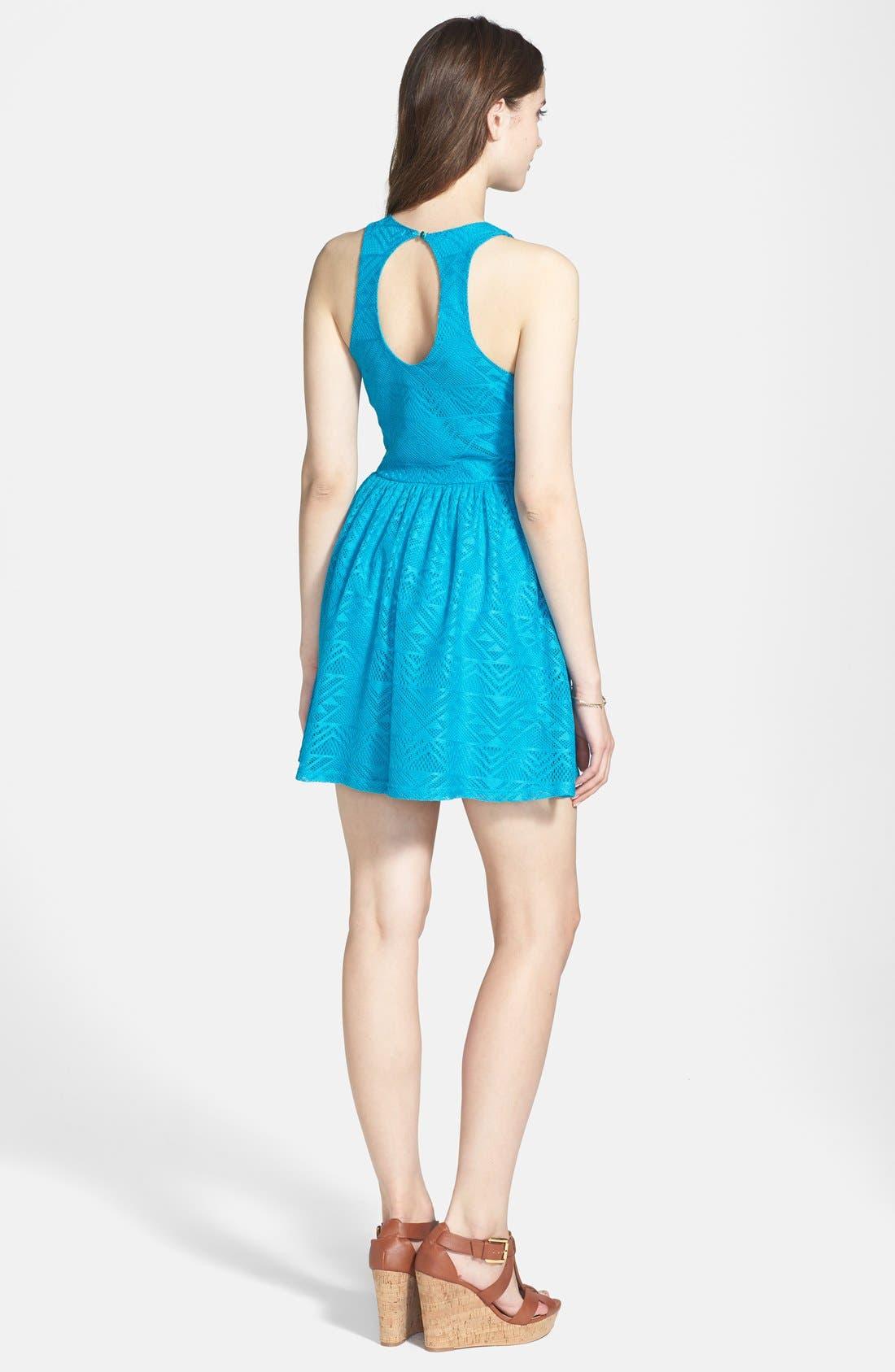 Alternate Image 2  - Socialite Geometric Open Knit Skater Dress (Juniors)