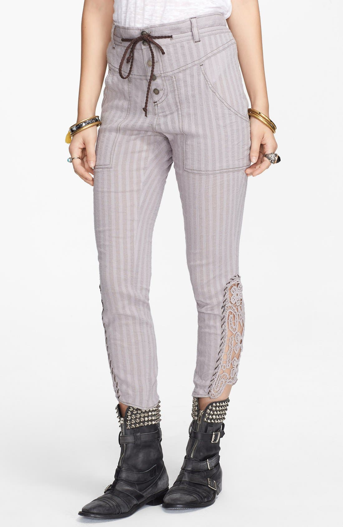 Main Image - Free People Crochet Inset Crop Pants