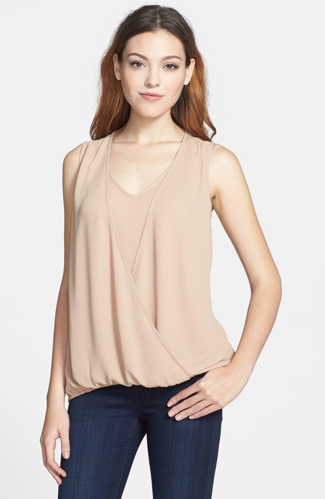 Alternate Image 1 Selected - Pleione Front Inset Surplice Blouse