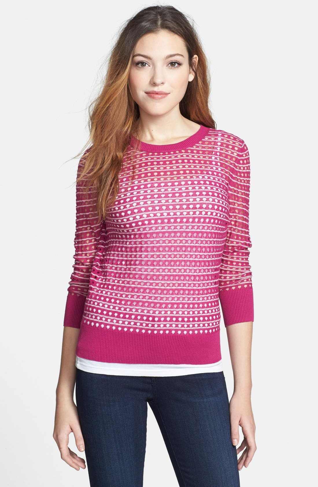Main Image - Caslon® Three Quarter Sleeve Pointelle Stripe Sweater