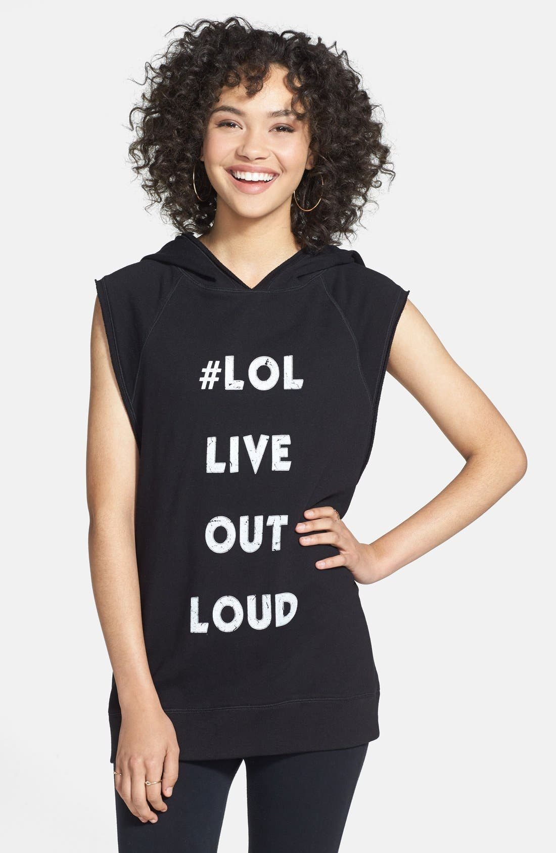 Alternate Image 1 Selected - Unit-Y 'Ecstatic - #LOL Live Out Loud' Sleeveless Hoodie