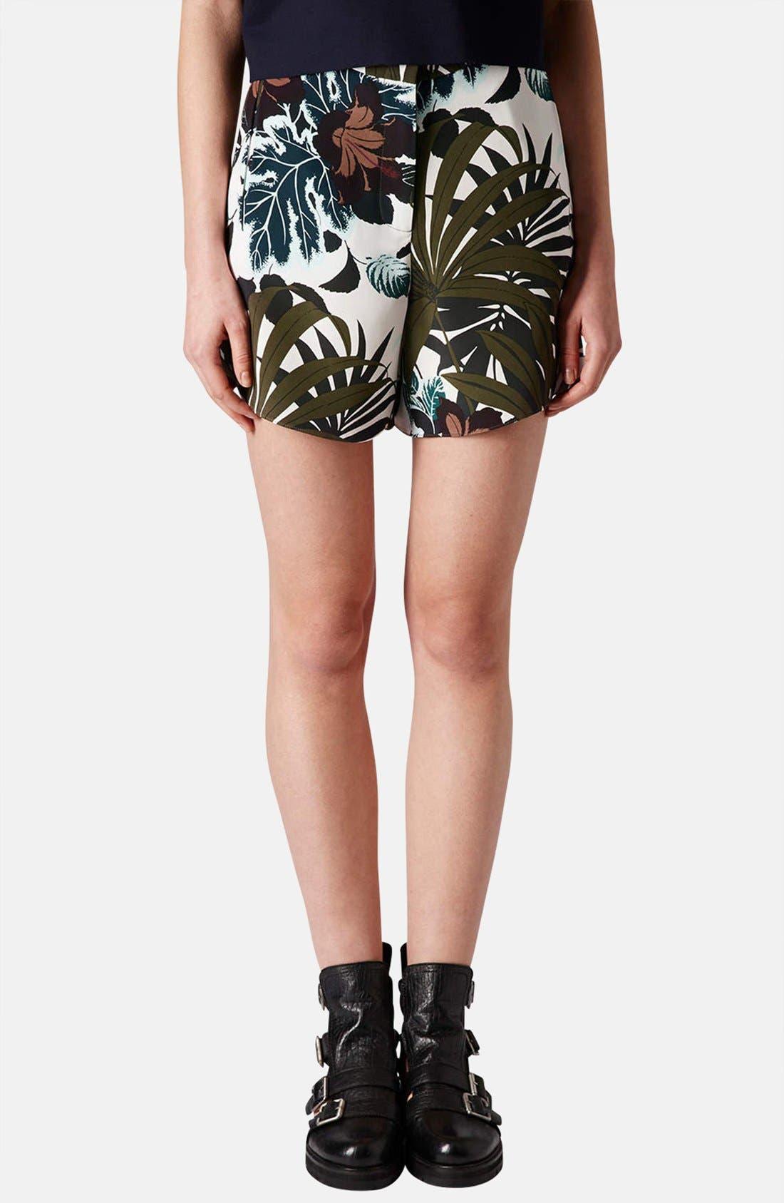 Alternate Image 1 Selected - Topshop Jungle Print Silk Shorts
