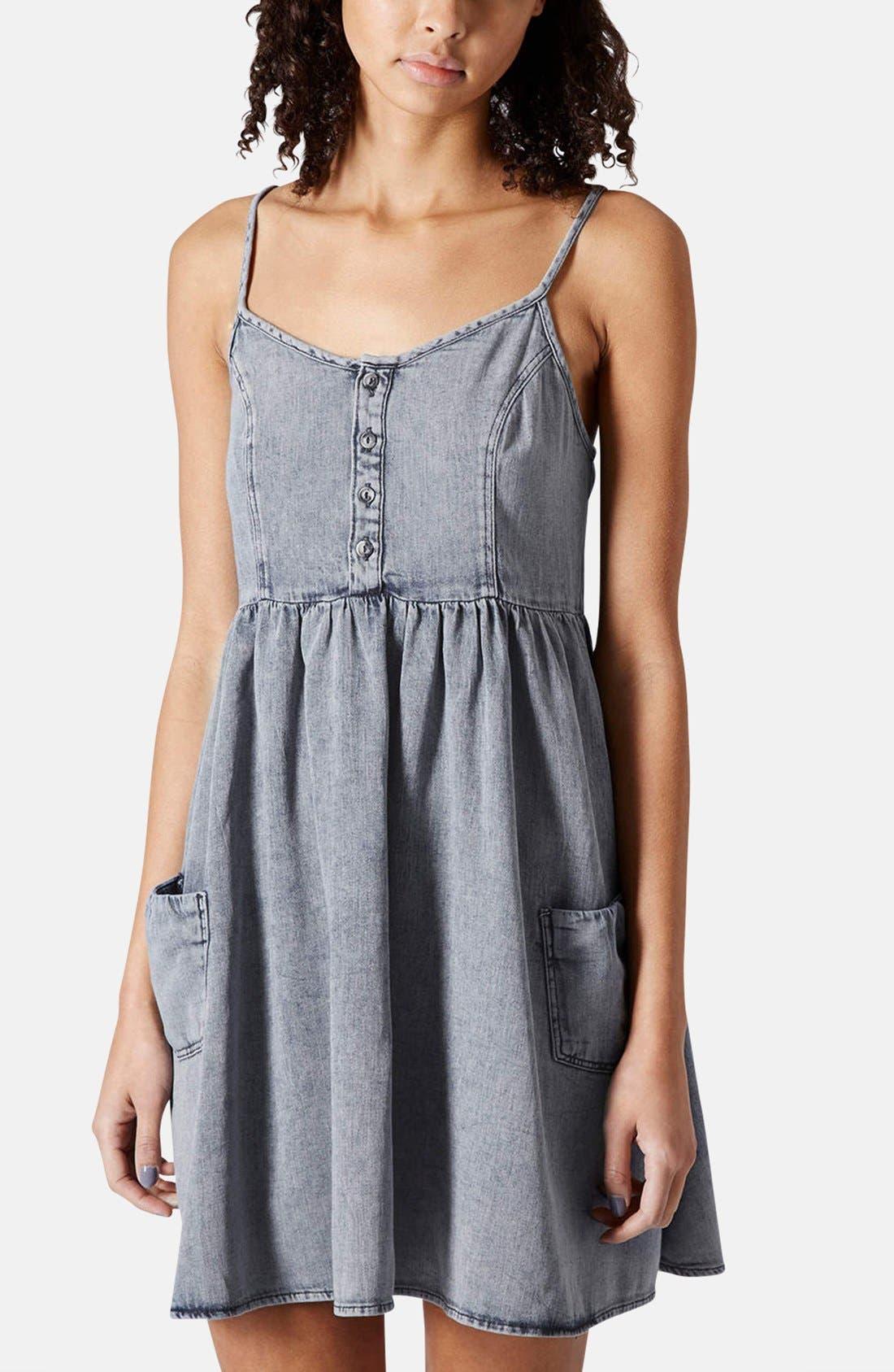 Alternate Image 1 Selected - Topshop Moto Denim Babydoll Dress