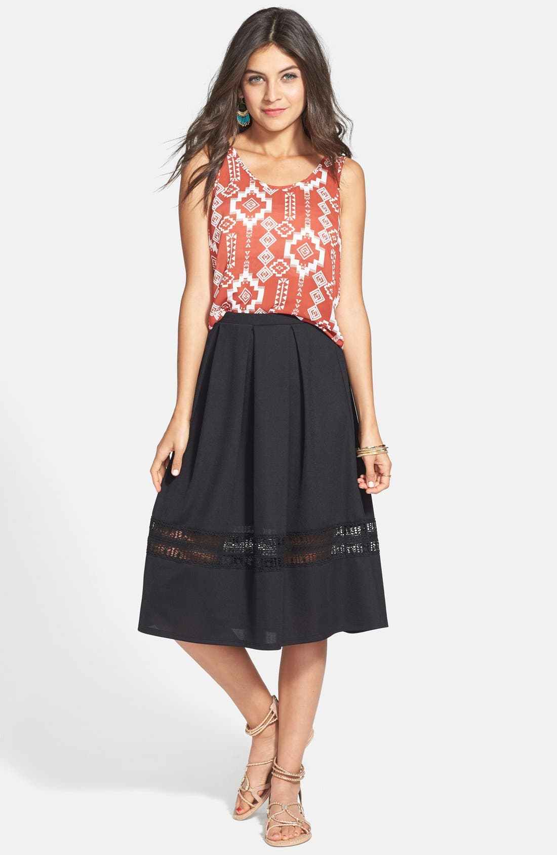Main Image - Painted Threads Lace Inset Midi Skirt (Juniors)
