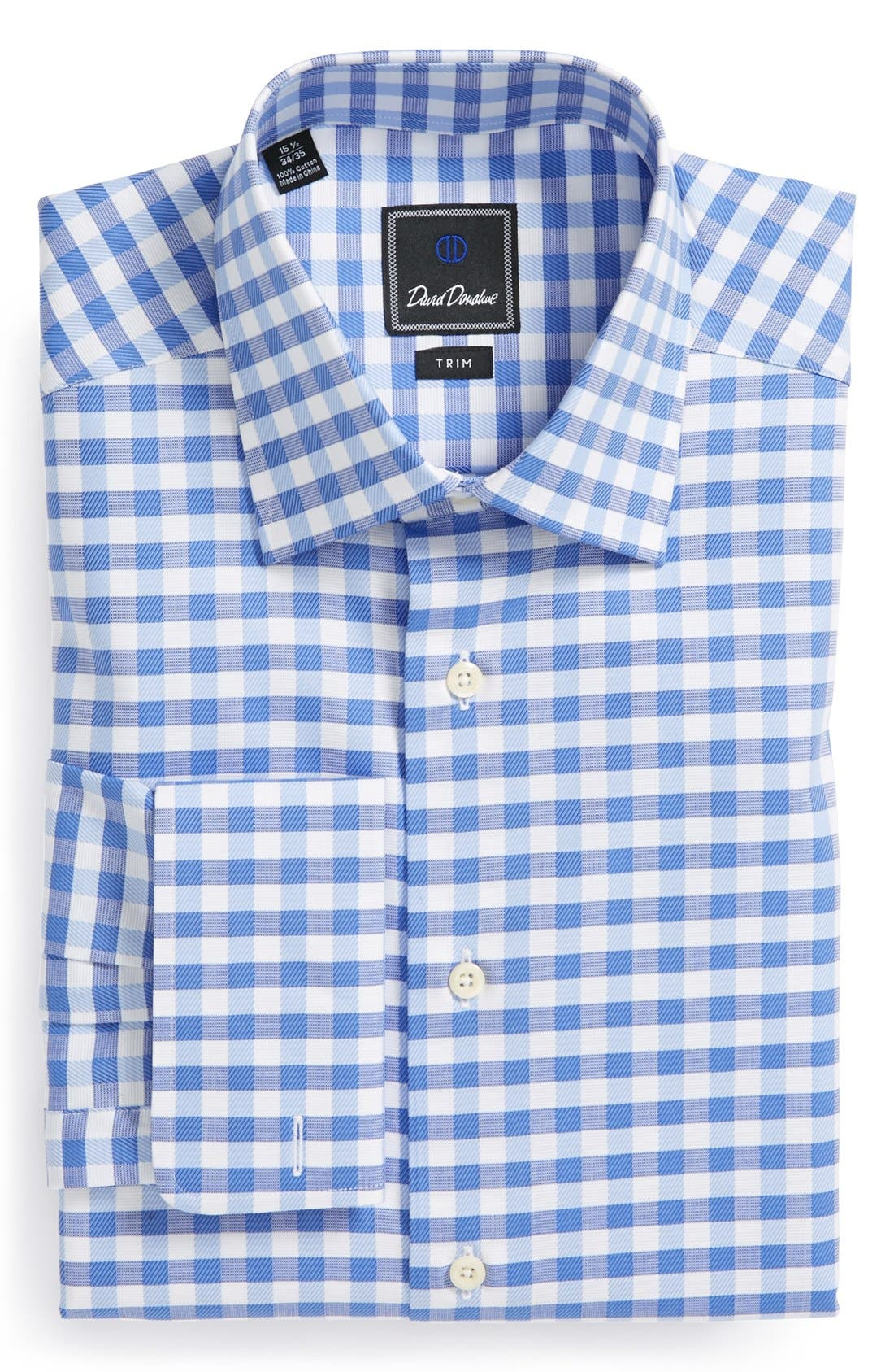 Main Image - David Donahue Fancy Twill Check Trim Fit Dress Shirt