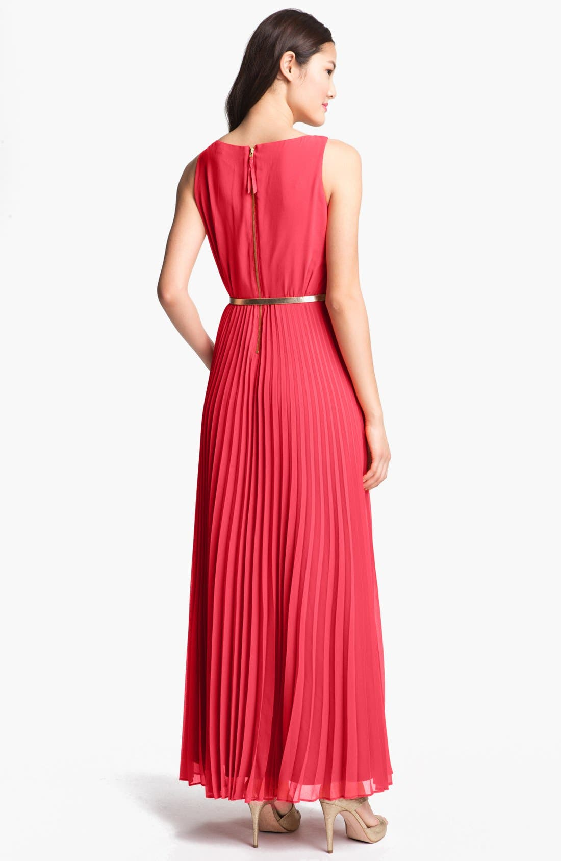 Alternate Image 2  - Eliza J Pleated Chiffon Maxi Dress (Regular & Petite)