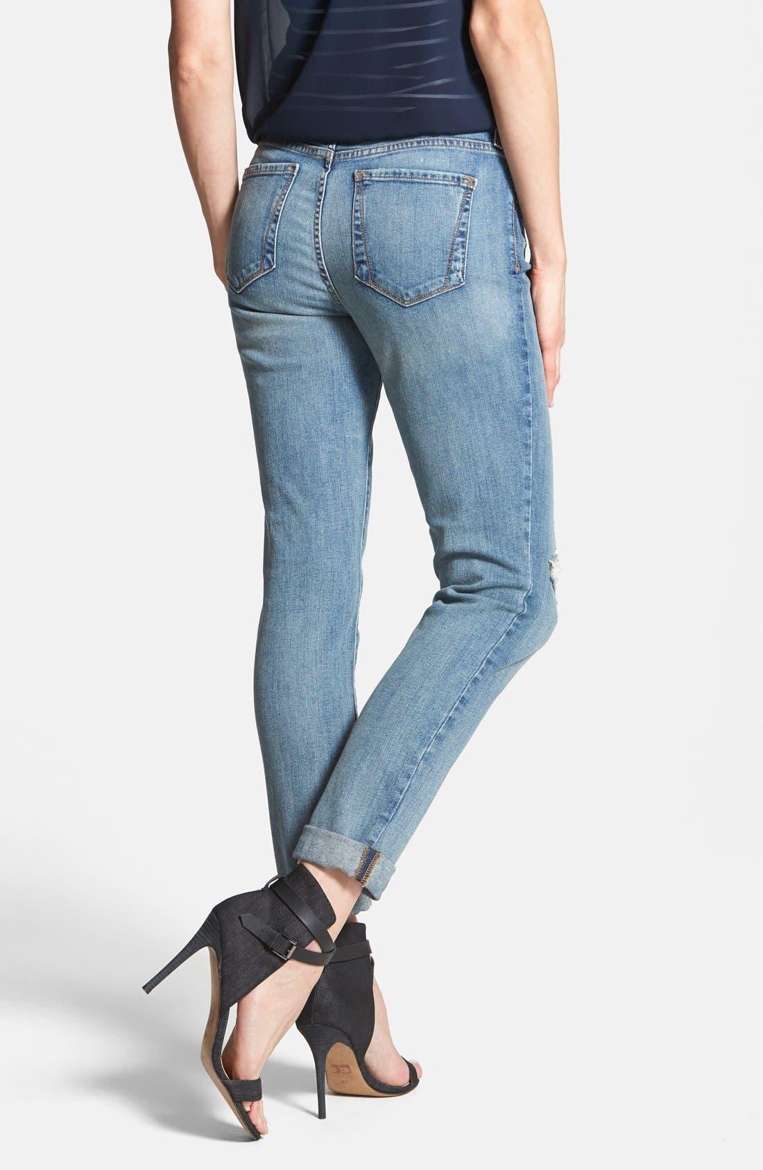 Alternate Image 2  - NYDJ 'Anabelle' Distressed Stretch Skinny Ankle Jeans (Lake Havasu) (Regular & Petite)
