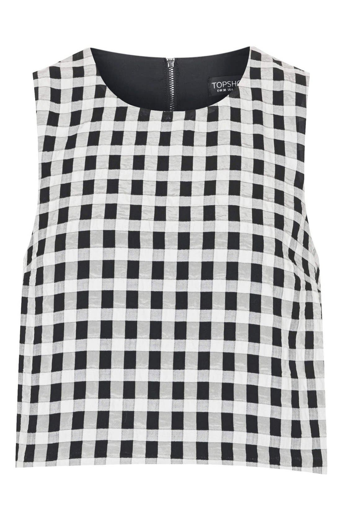 Alternate Image 3  - Topshop Textured Gingham Shell