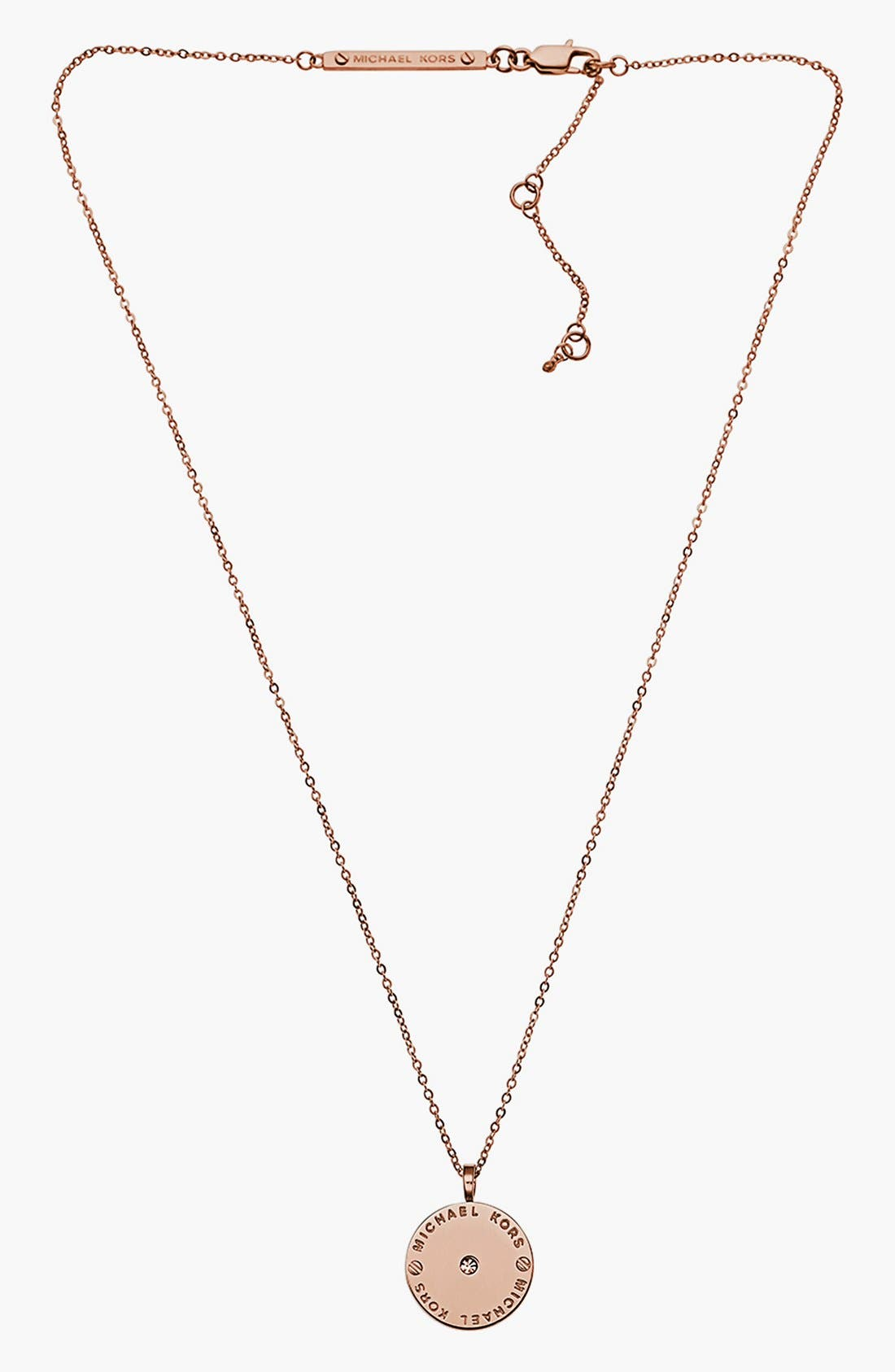 Alternate Image 2  - Michael Kors 'Heritage' Logo Disc Pendant Necklace