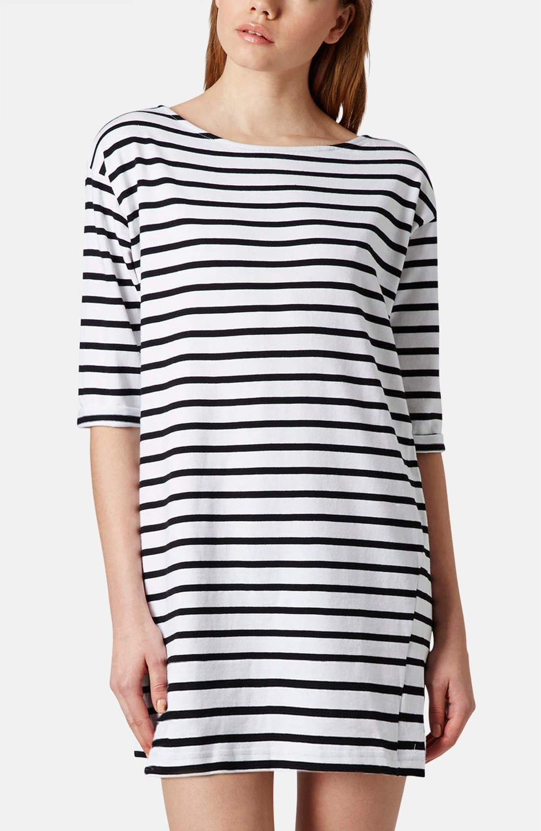 Main Image - Topshop Stripe Cotton Tunic Dress (Petite)