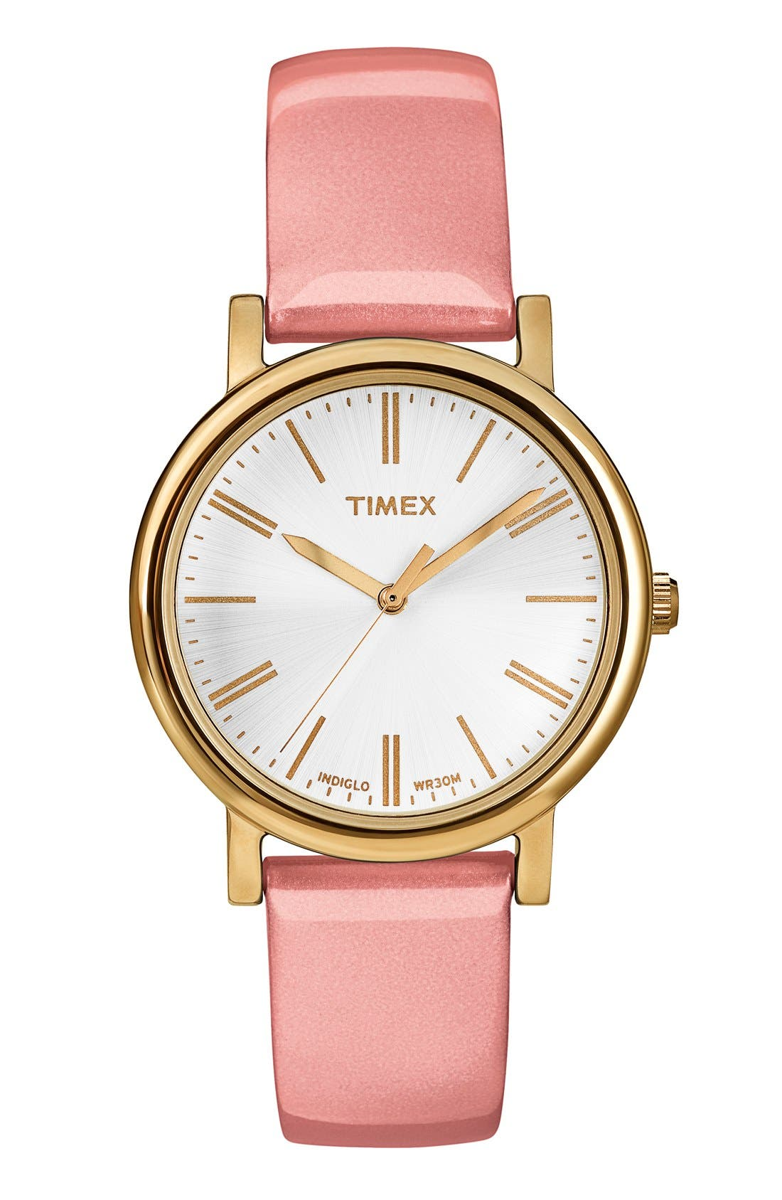 Main Image - Timex® Round Patent Leather Strap Watch, 33mm
