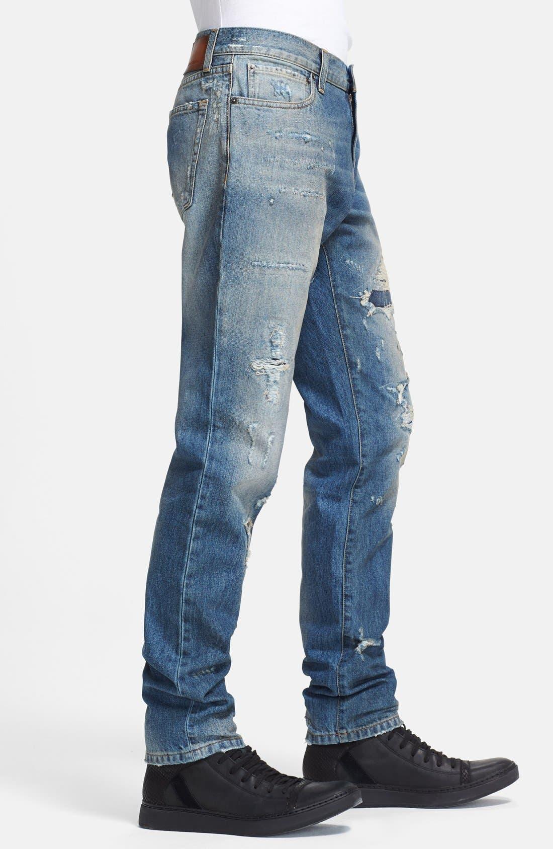 Alternate Image 3  - Dolce&Gabbana Slim Fit Destroyed Jeans (Blue)