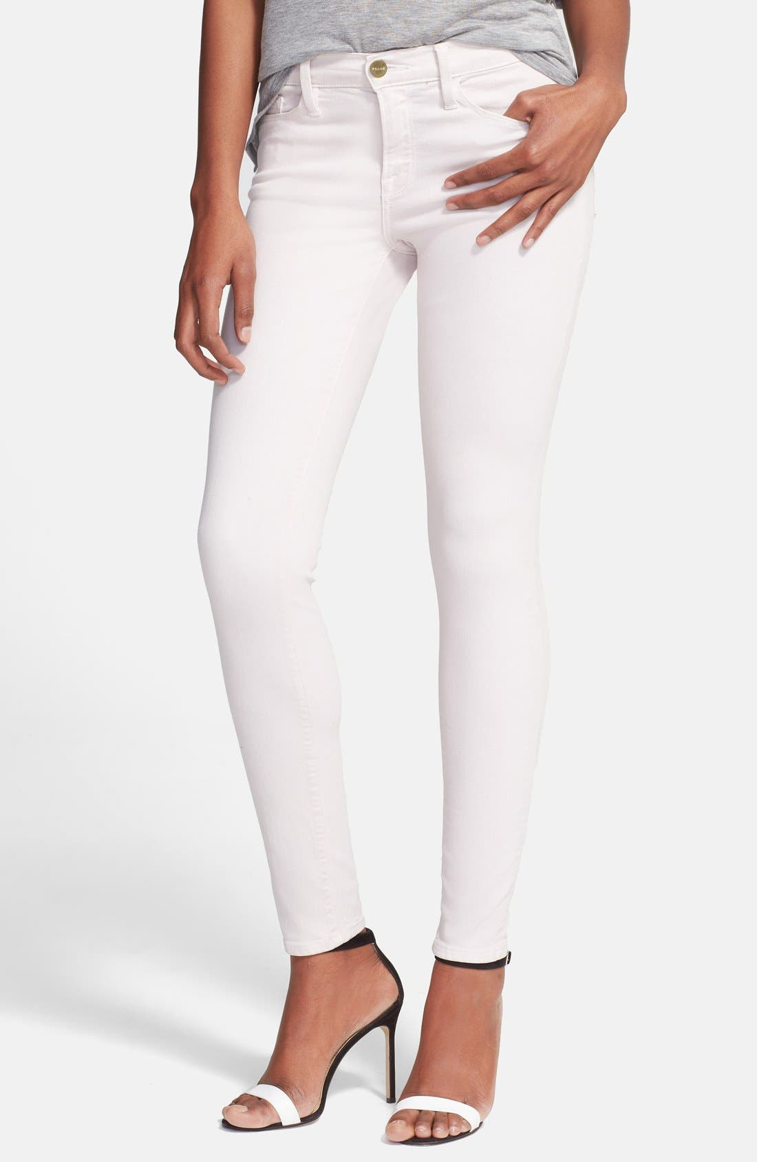 Alternate Image 1 Selected - FRAME 'Le Color' Skinny Jeans (Blush Pink)