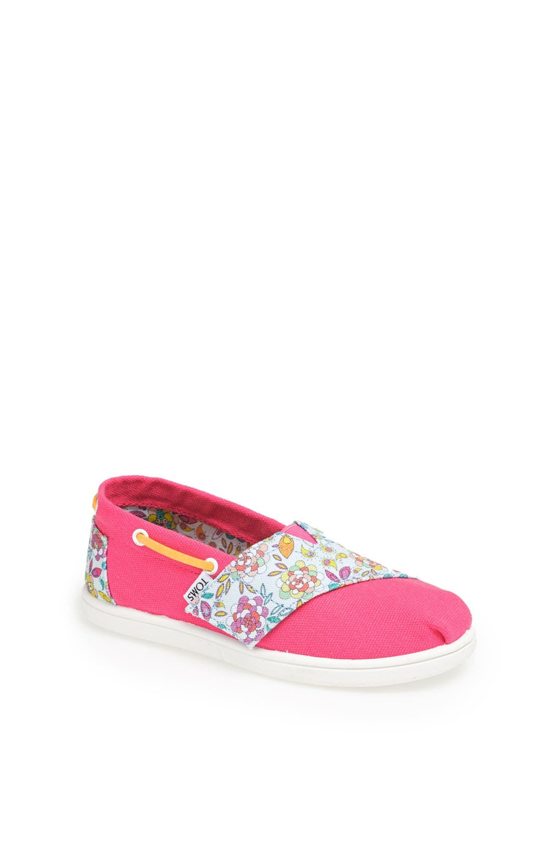 Main Image - TOMS 'Bimini Tiny - Pink Inked Floral' Slip-On (Baby, Walker & Toddler)
