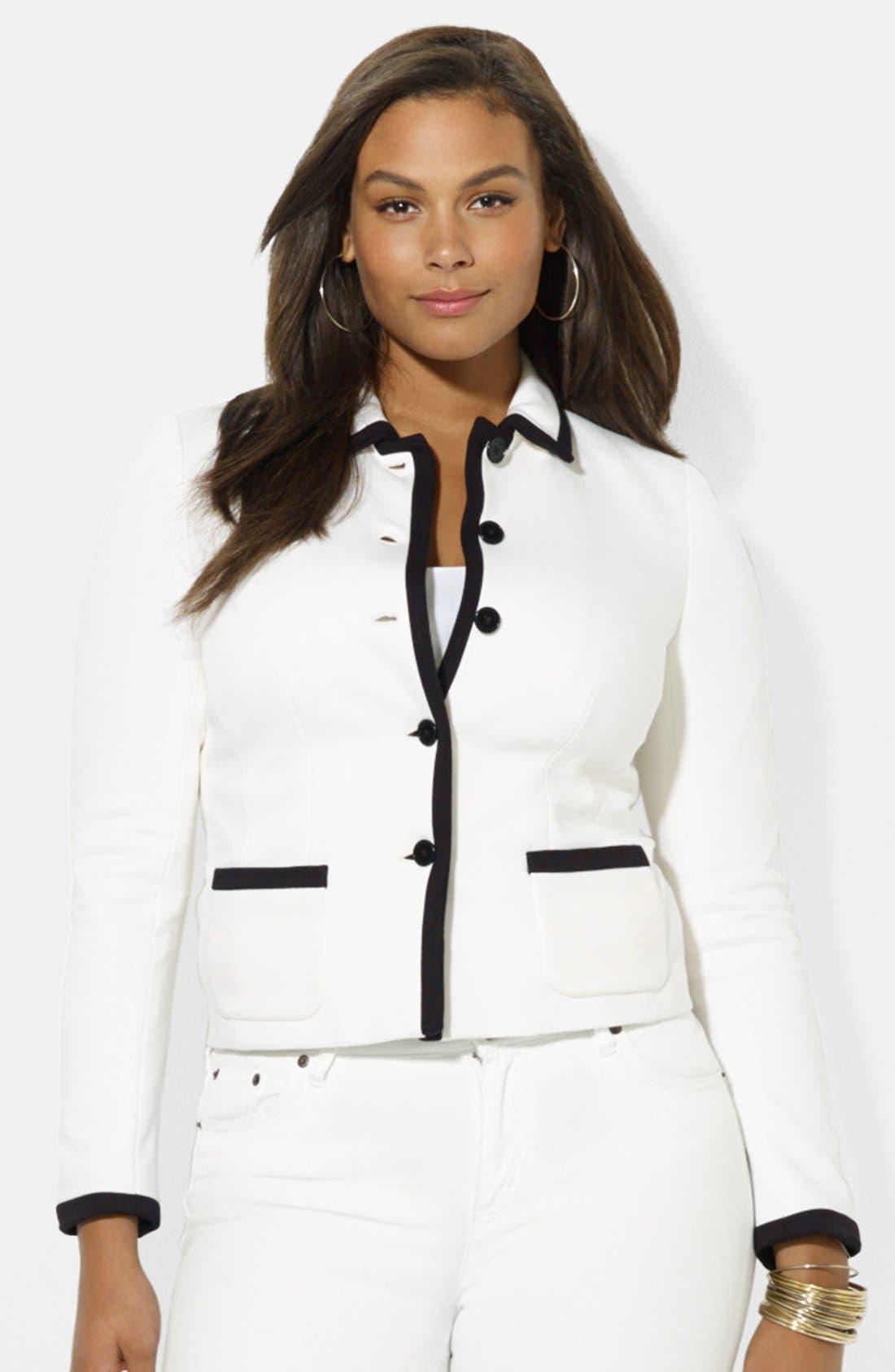 Main Image - Lauren Ralph Lauren Button Front Jacket (Plus Size)