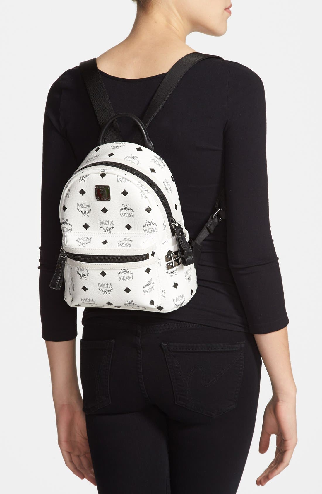 Alternate Image 2  - MCM 'Mini Stark - Visetos' Studded Backpack (Nordstrom Exclusive Color)