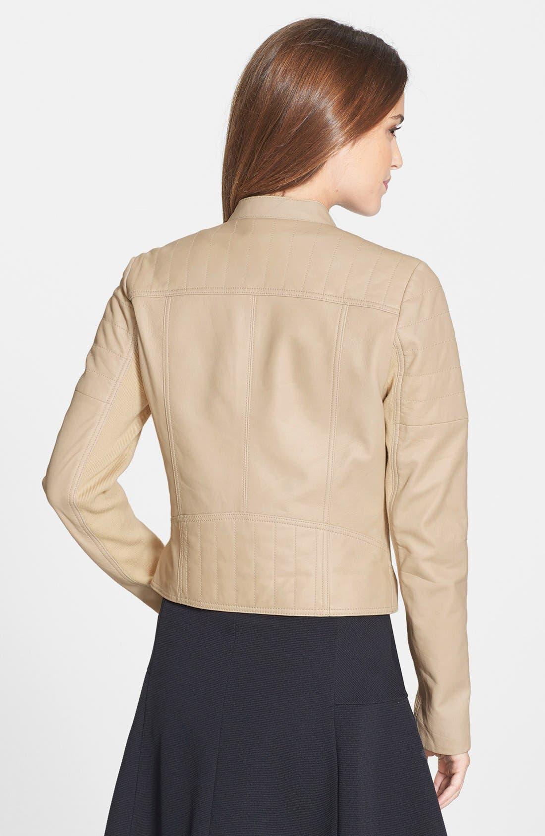 Alternate Image 2  - Halogen® Leather Moto Jacket (Regular & Petite)