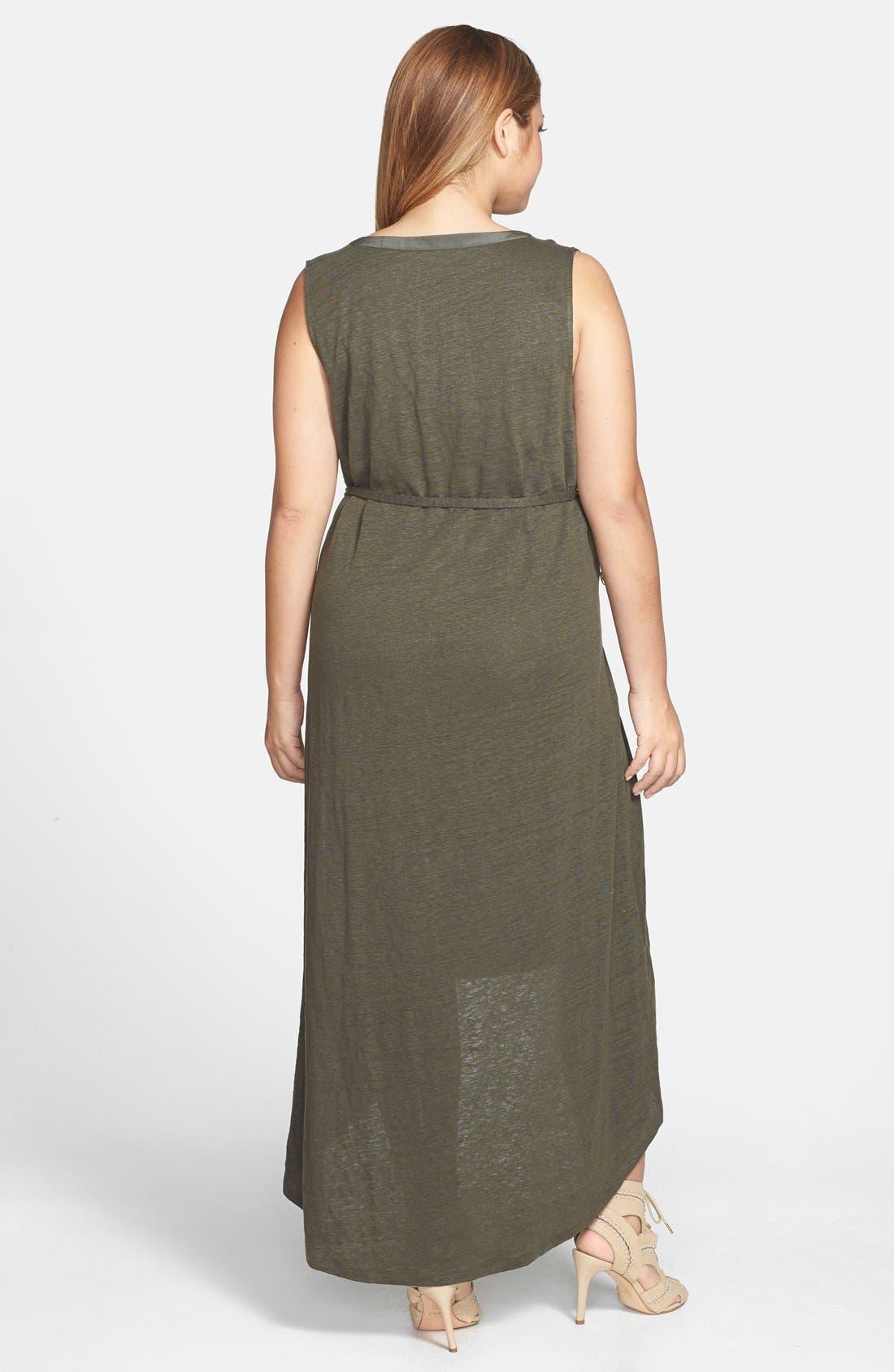 Alternate Image 2  - Halogen® Mixed Media High/Low Maxi Dress (Plus Size)