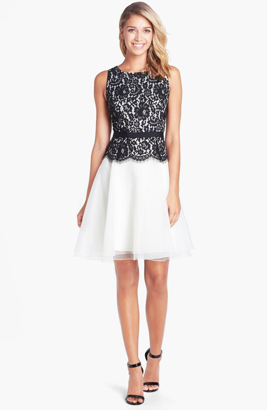 Alternate Image 1 Selected - Eliza J Lace Bodice Fit & Flare Dress (Petite)