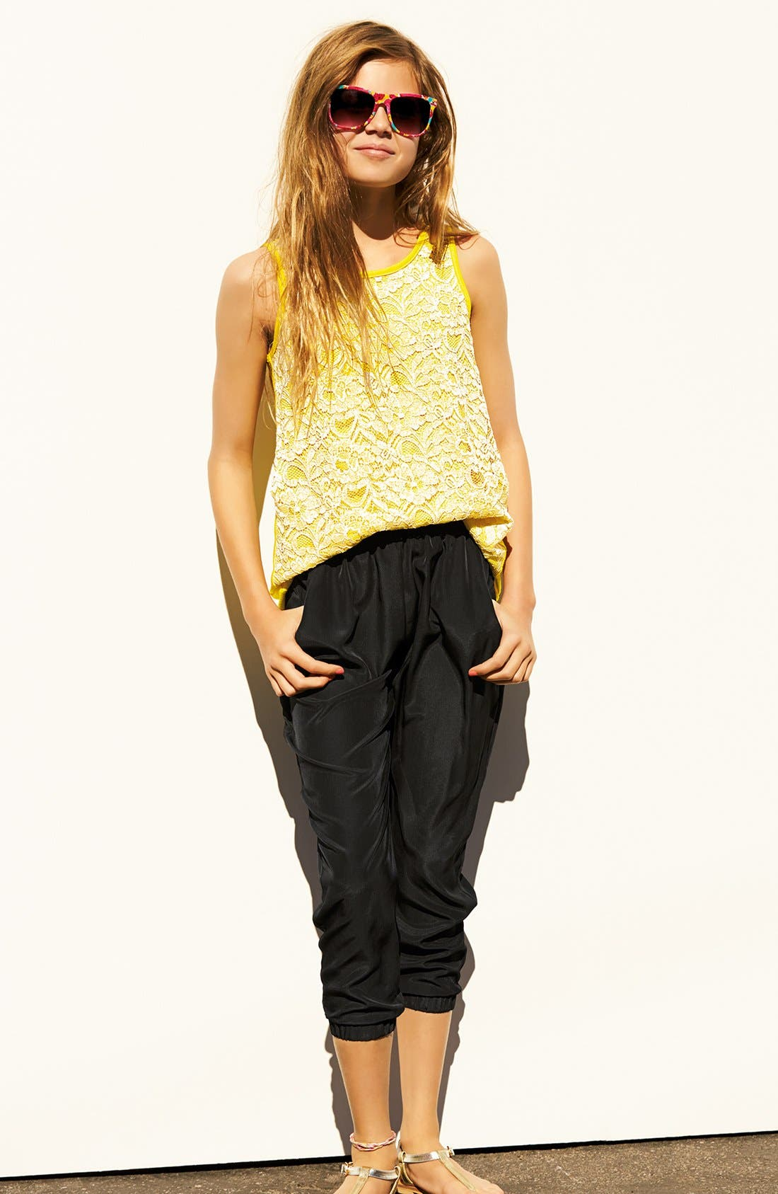 Alternate Image 1 Selected - Soprano High/Low Top & Soft Pants (Big Girls)