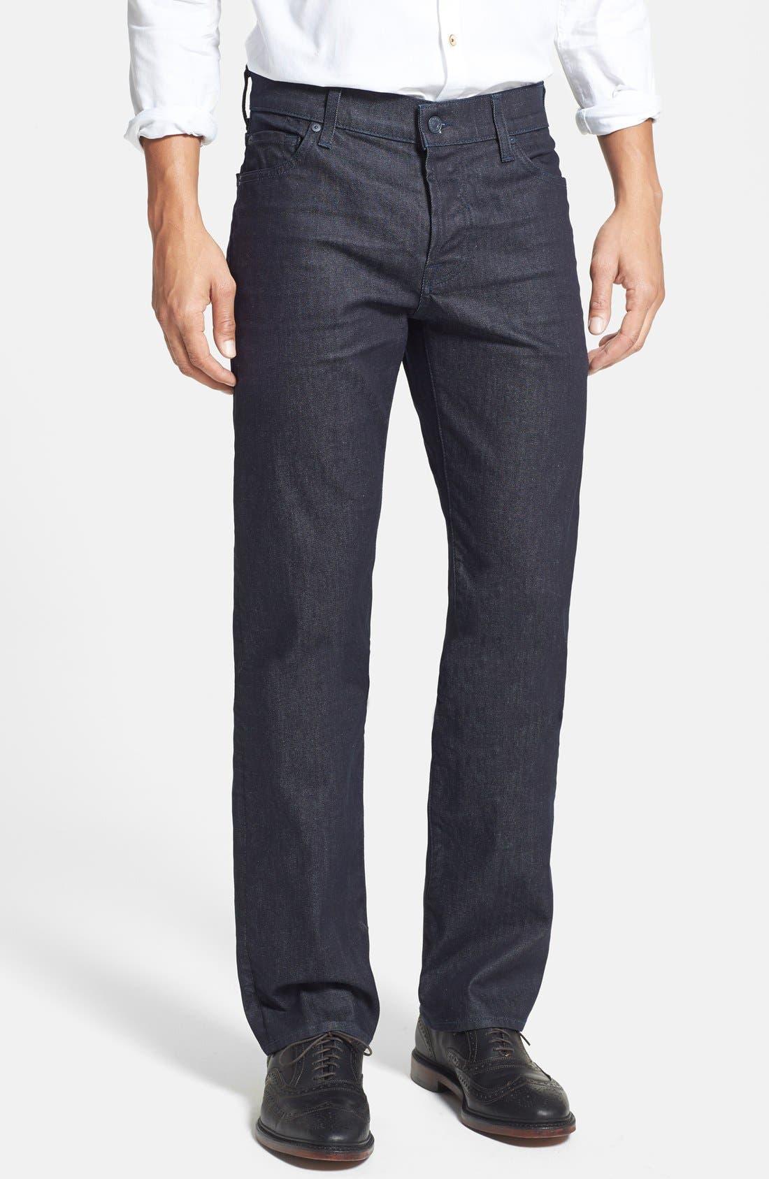 Alternate Image 1 Selected - 7 For All Mankind® 'Standard' Straight Leg Jeans (Deep Indigo)
