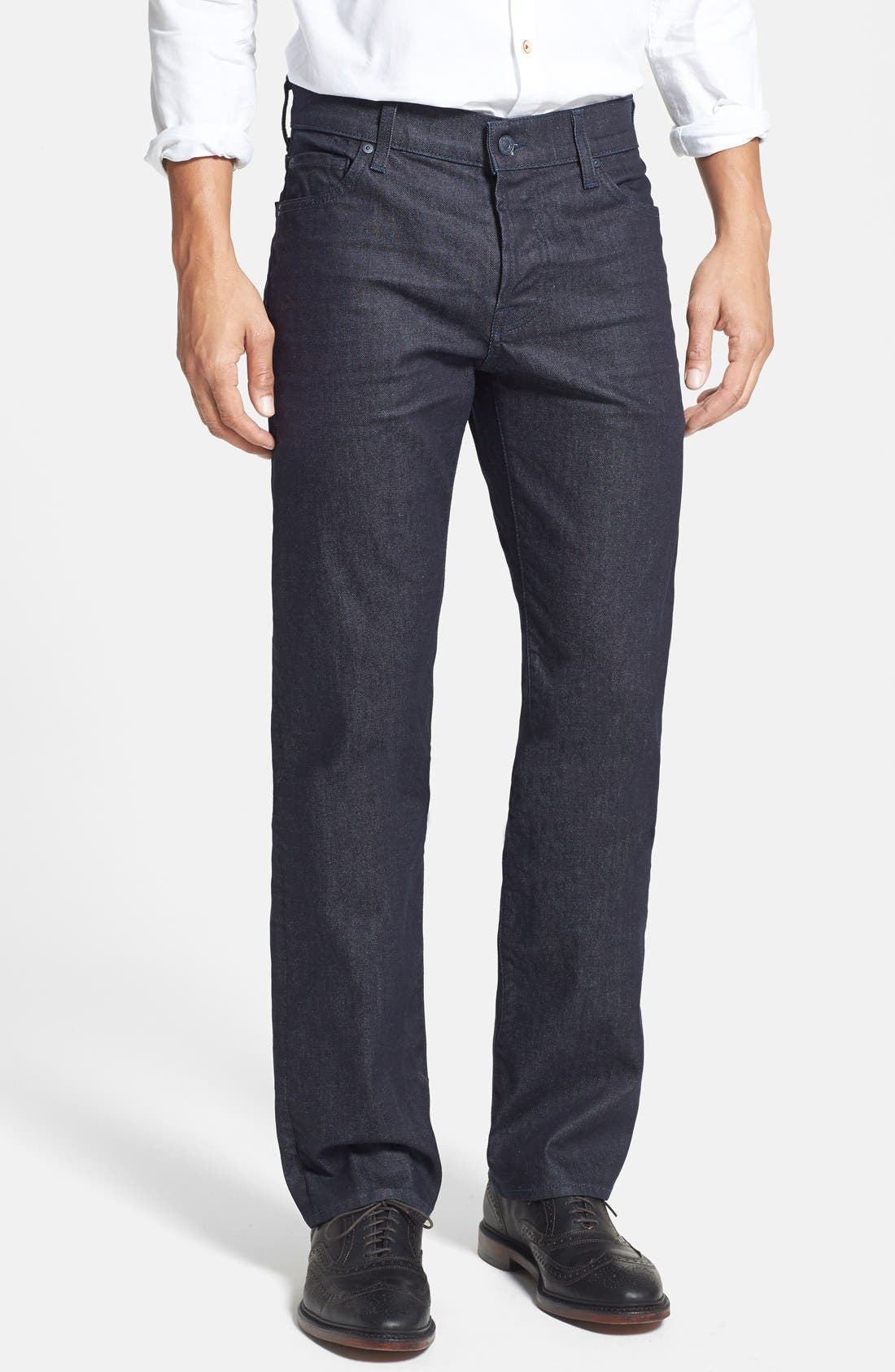 Main Image - 7 For All Mankind® 'Standard' Straight Leg Jeans (Deep Indigo)