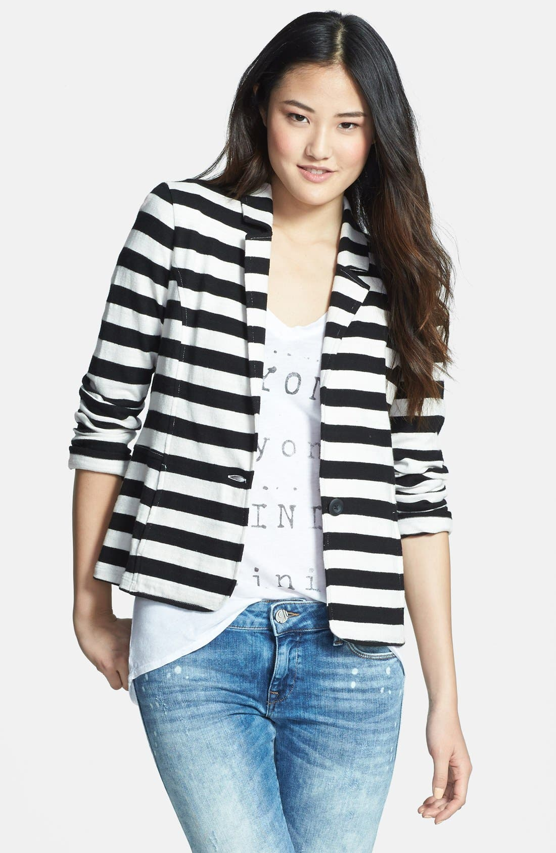 Main Image - Caslon® Cotton Knit Jacket (Regular & Petite)