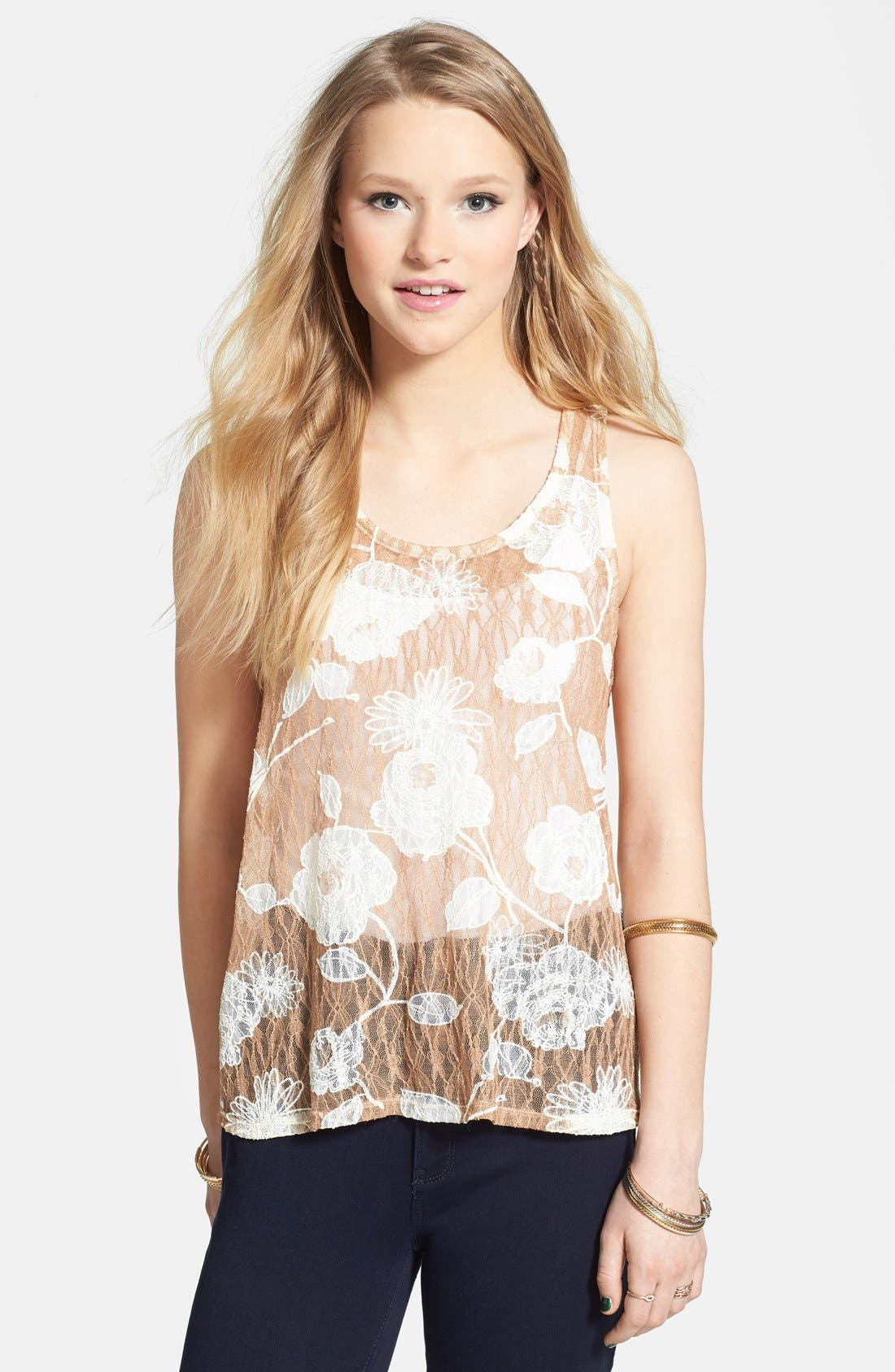 Main Image - Painted Threads Two-Tone Floral Lace Tank (Juniors)