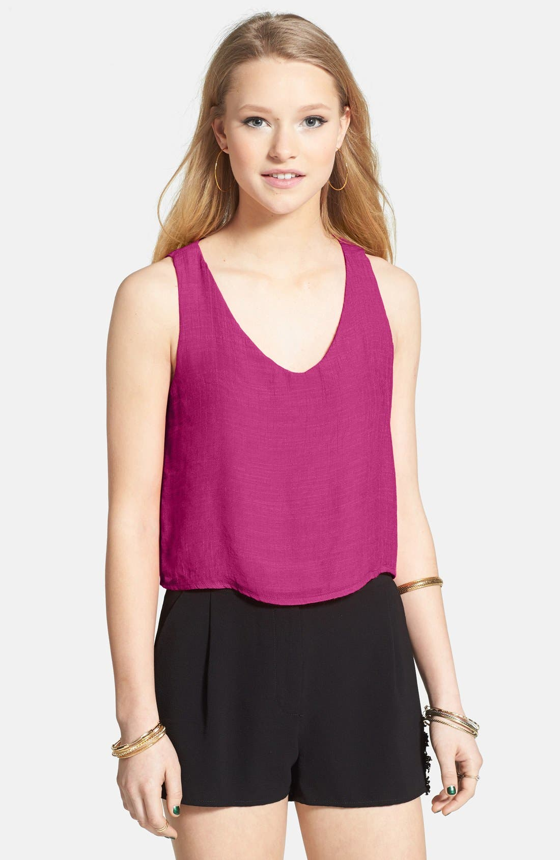Alternate Image 1 Selected - Lily White Heart Cutout Tank (Juniors) (Online Only)