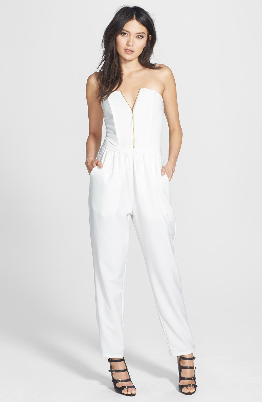 Alternate Image 1 Selected - Rules of Etiquette 'Bianca' Strapless Jumpsuit