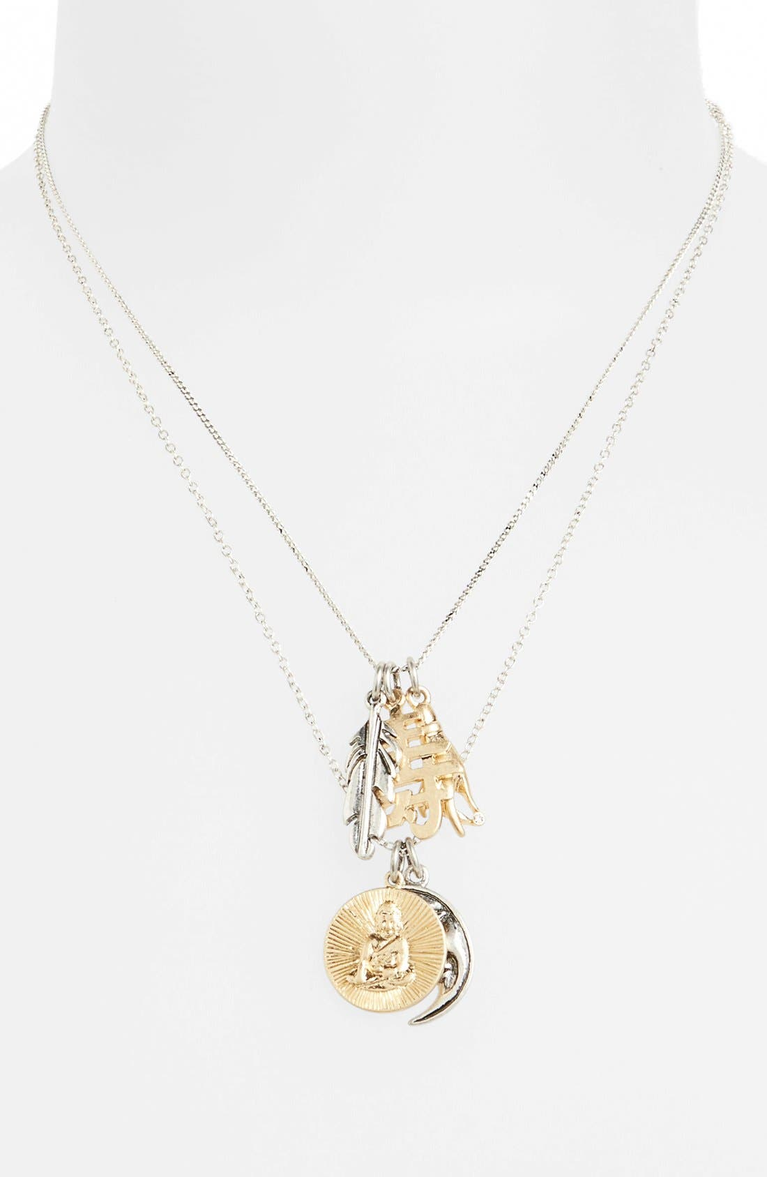Alternate Image 1 Selected - Topshop Double Strand Charm Necklace