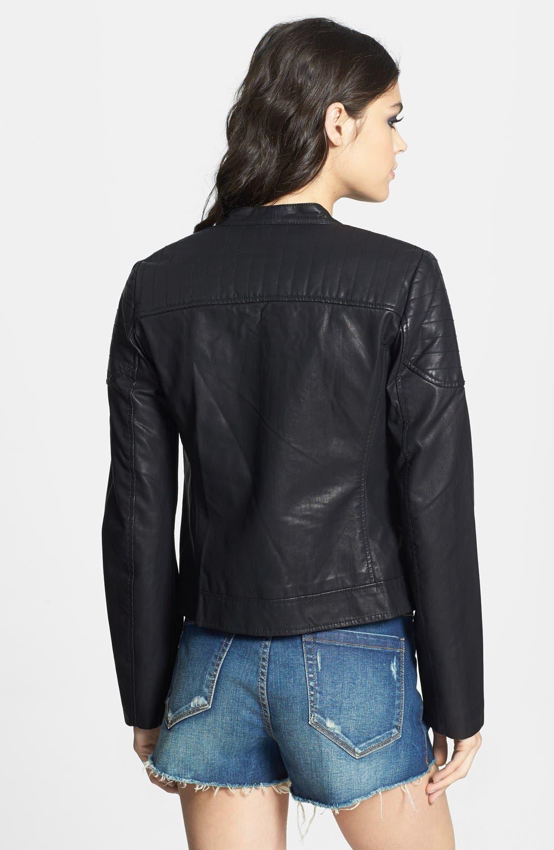 Alternate Image 4  - Topshop 'Cherrie' Faux Leather Biker Jacket