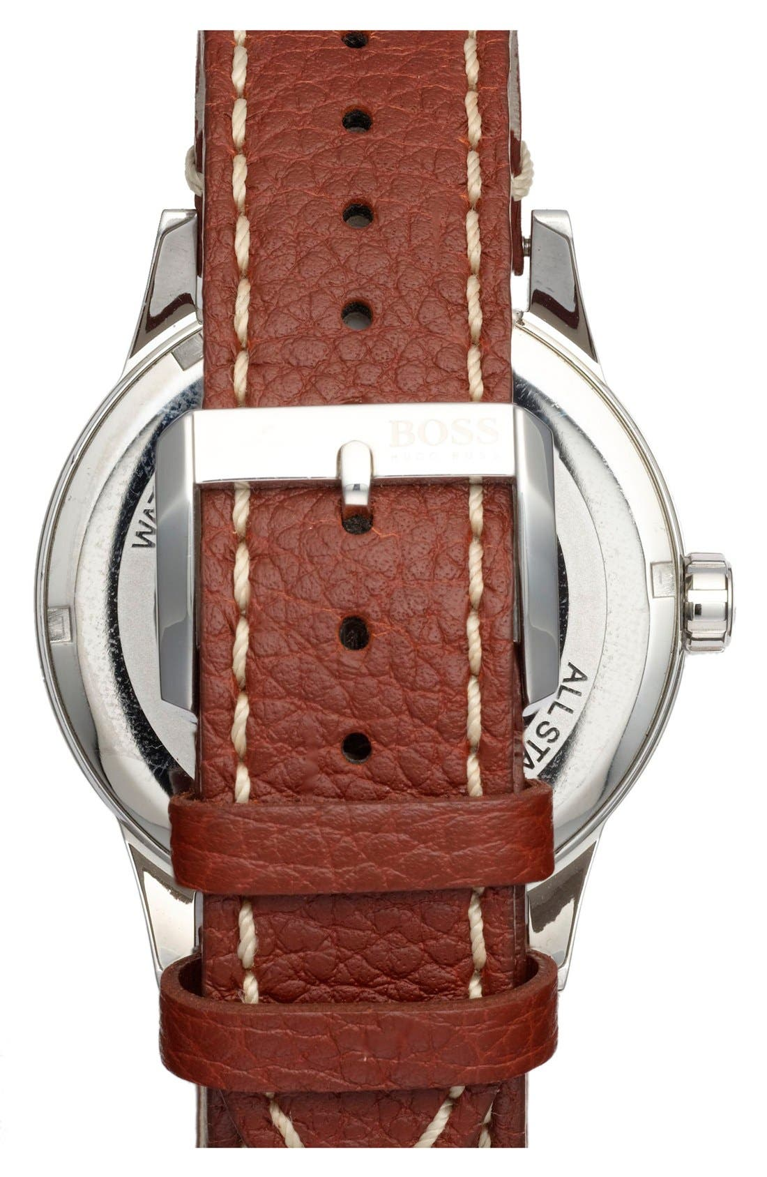 Alternate Image 2  - BOSS Round Leather Strap Watch, 44mm