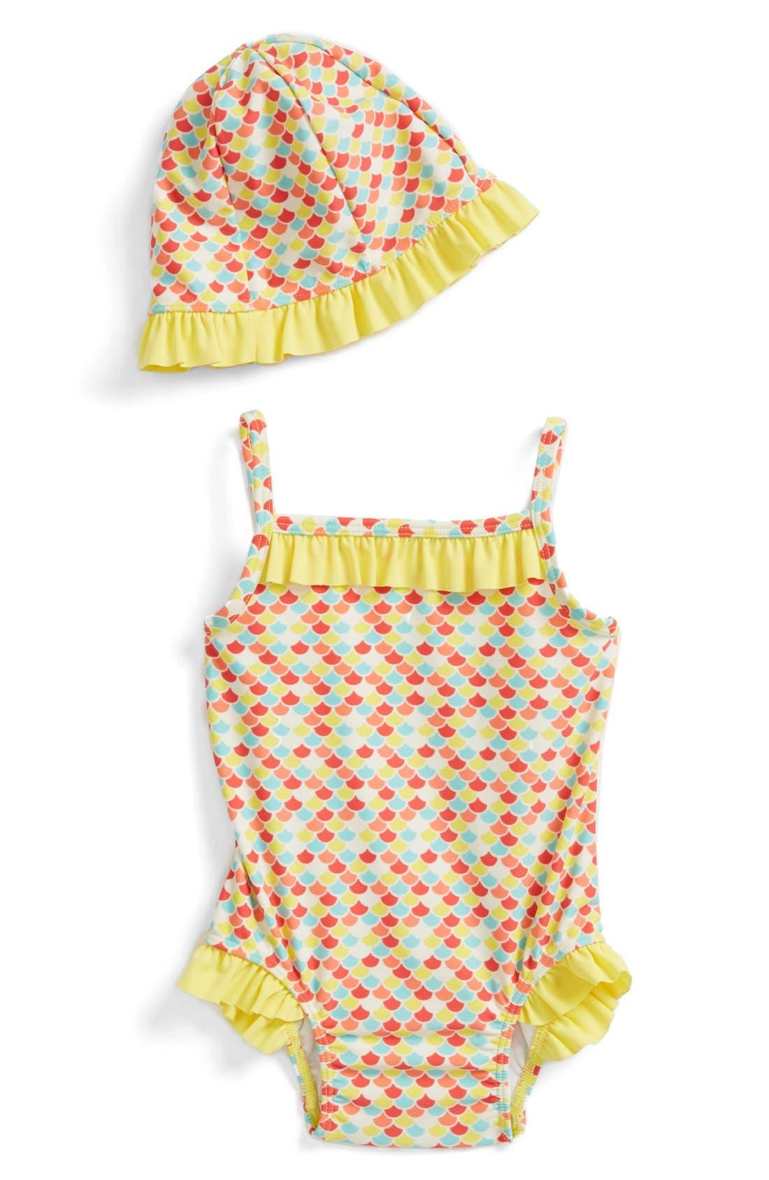 Alternate Image 1 Selected - Tucker + Tate Ruffle One-Piece Swimsuit & Hat (Baby Girls)