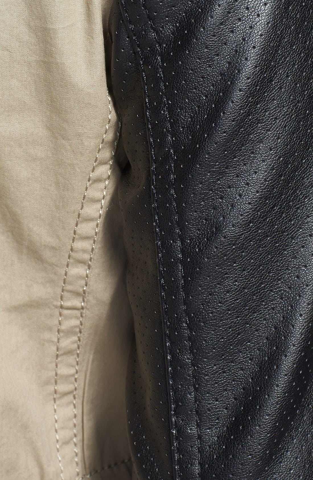 Alternate Image 3  - Vince Camuto Faux Leather & Cotton Anorak