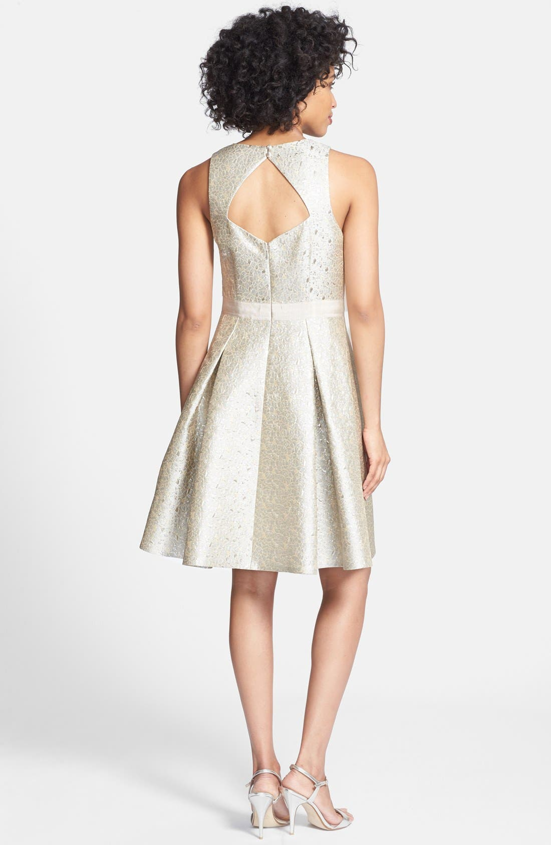 Alternate Image 2  - Eliza J Embellished Metallic Jacquard Fit & Flare Dress