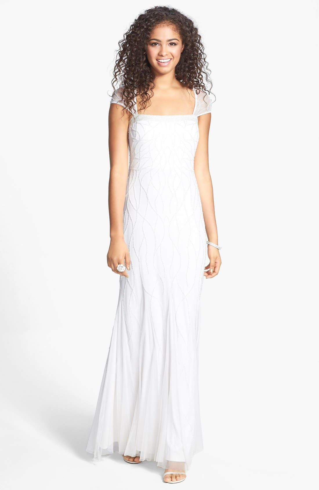 Main Image - Adrianna Papell Beaded Cap Sleeve Gown