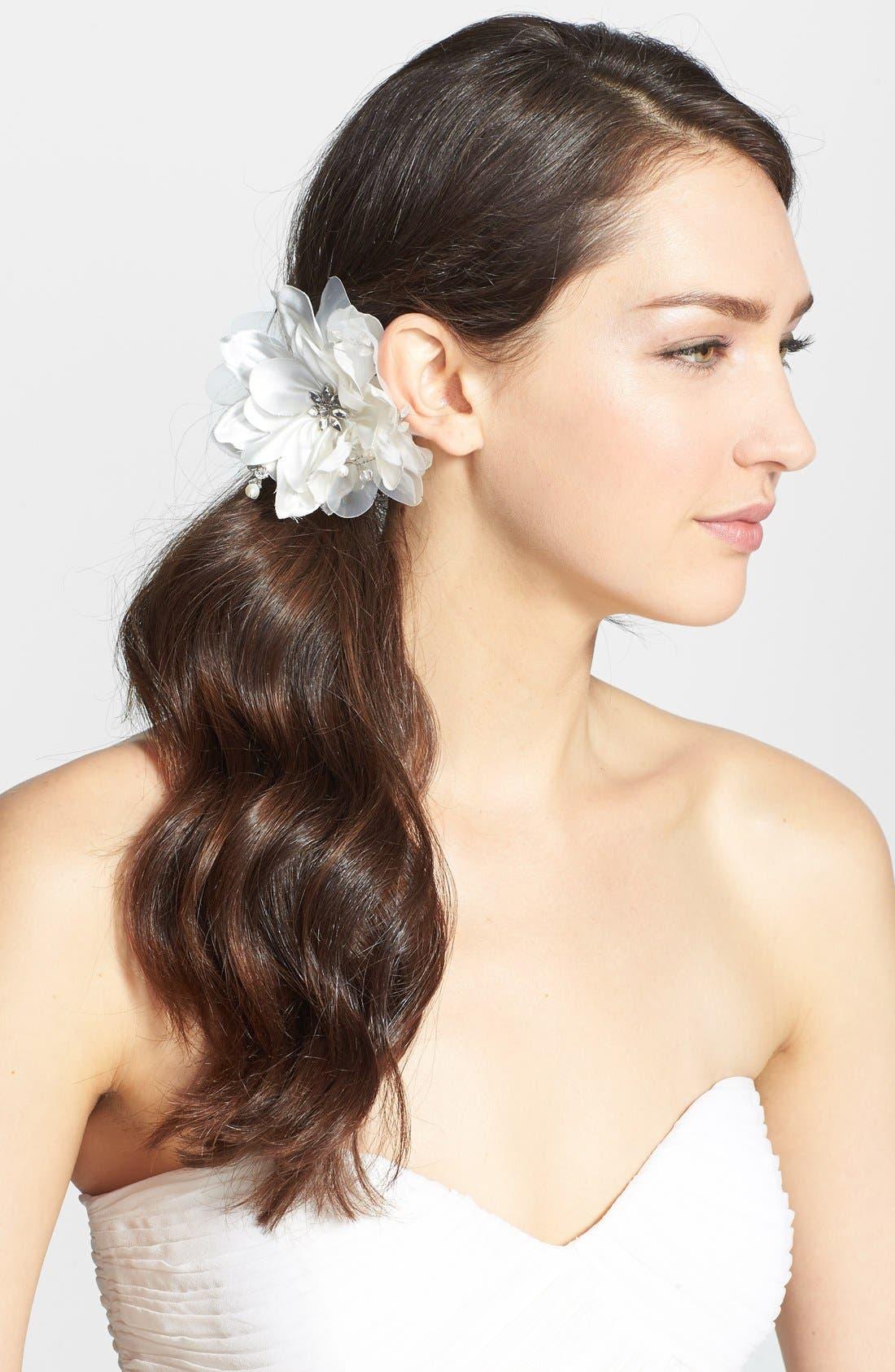 Main Image - Nina Organza Flower & Freshwater Pearl Hair Clip