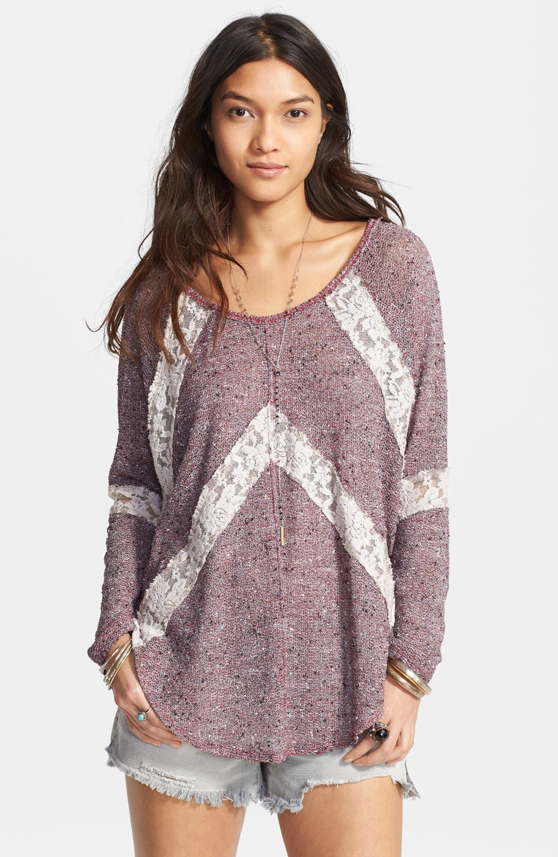 Alternate Image 1 Selected - Free People 'Flying V' Lace Inset Pullover