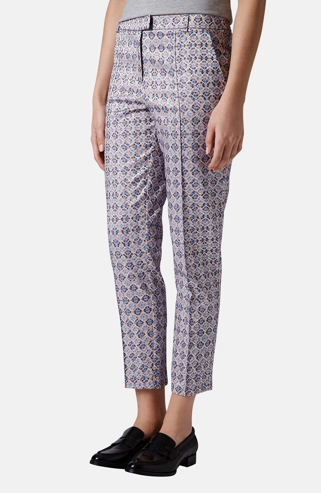 Main Image - Topshop 'Folk Tile' Crop Jacquard Trousers
