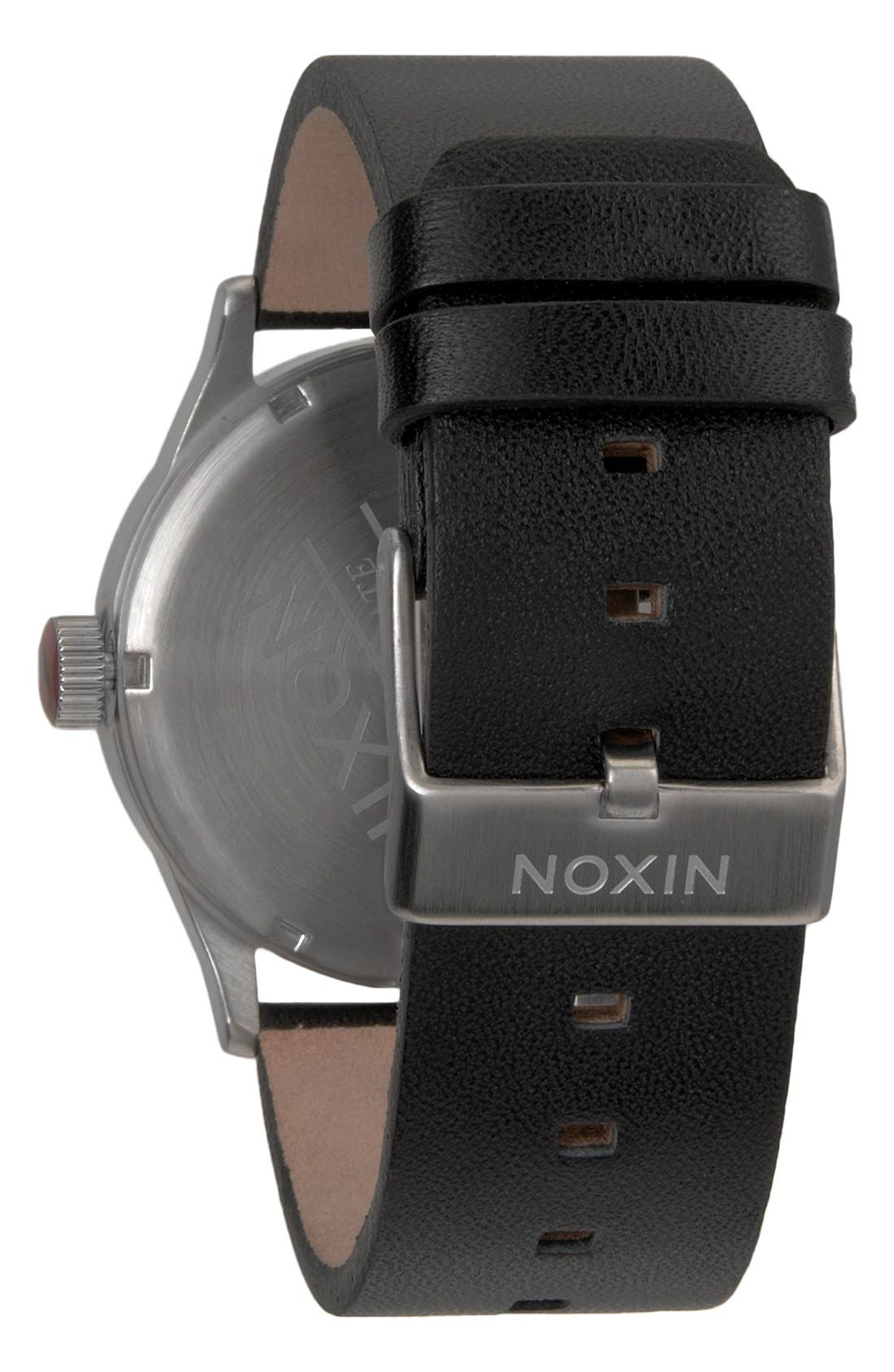Alternate Image 2  - Nixon 'The Sentry' Leather Watch, 42mm