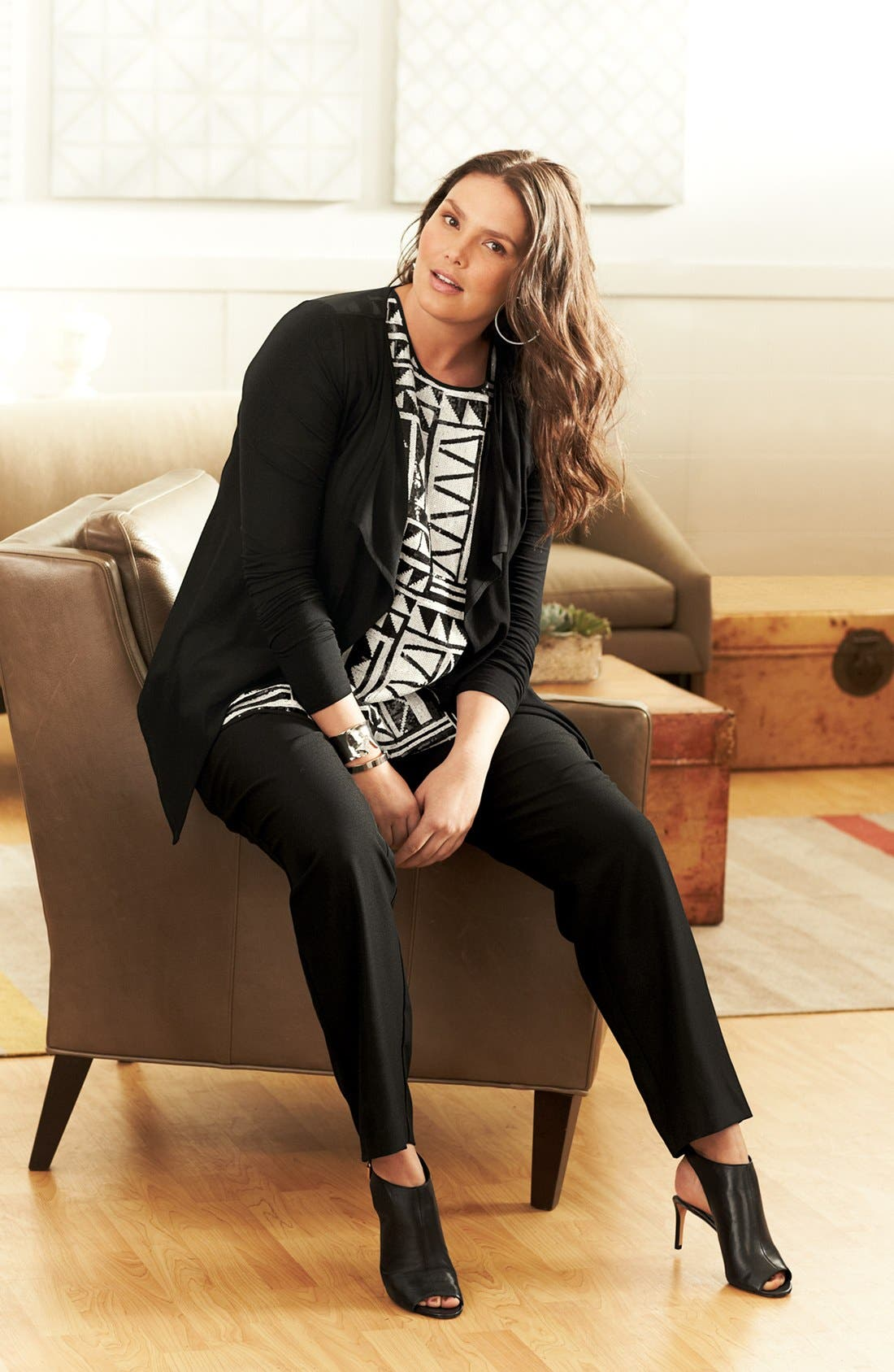 Main Image - Vince Camuto Cardigan, Blouse & Track Pants